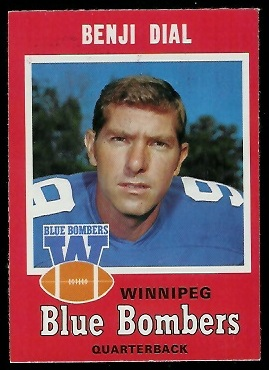 Benjy Dial 1971 O-Pee-Chee CFL football card