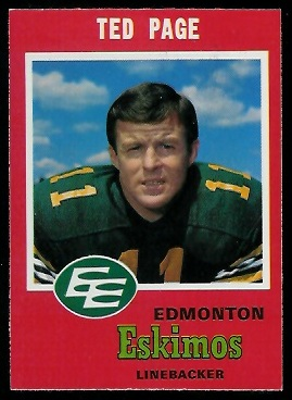 Ted Page 1971 O-Pee-Chee CFL football card