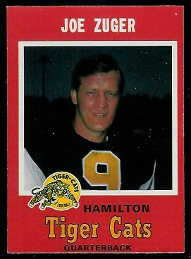 Joe Zuger 1971 O-Pee-Chee CFL football card
