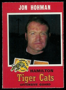 Jon Hohman 1971 O-Pee-Chee CFL football card