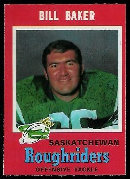 Bill Baker 1971 O-Pee-Chee CFL football card