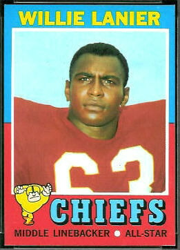 1971 Topps Willie Lanier rookie football card