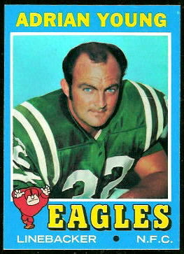 Rick Duncan on Adrian Young's 1971 Topps football card