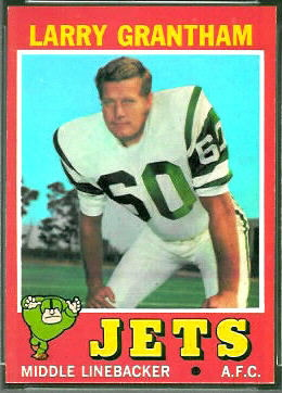 Larry Grantham 1971 Topps football card