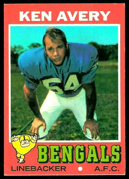Ken Avery 1971 Topps football card