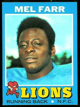 Mel Farr 1971 Topps football card