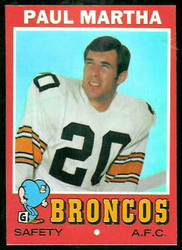 Paul Martha 1971 Topps football card