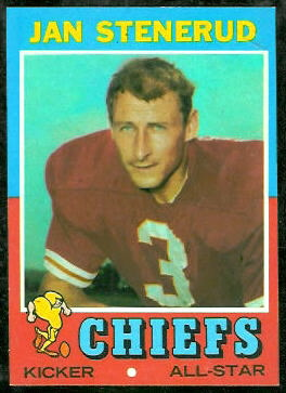 Jan Stenerud 1971 Topps football card