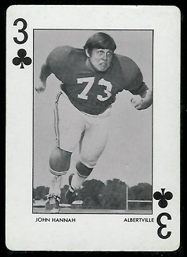 John Hannah 1972 University of Alabama football playing card