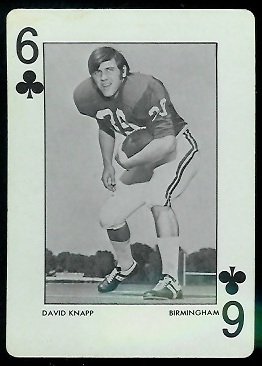 David Knapp 1972 Alabama Playing Cards football card