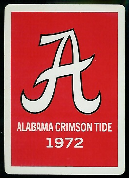 Back of 1972 University of Alabama football playing card