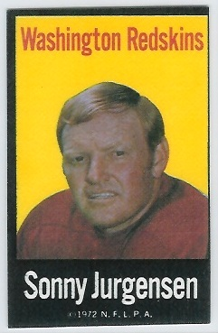 Sonny Jurgensen 1972 NFLPA Iron Ons football card