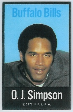 O.J. Simpson 1972 NFLPA Iron Ons football card
