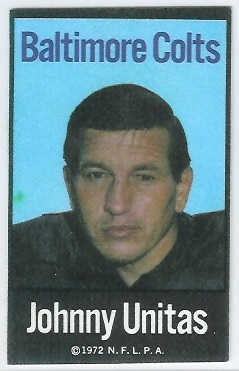 John Unitas 1972 NFLPA Iron Ons football card