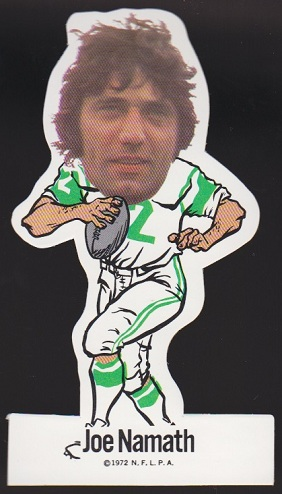 Joe Namath 1972 NFLPA Vinyl Sticker, corrected variation