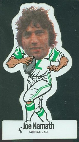 Joe Namath 1972 NFLPA Vinyl Sticker, error variation