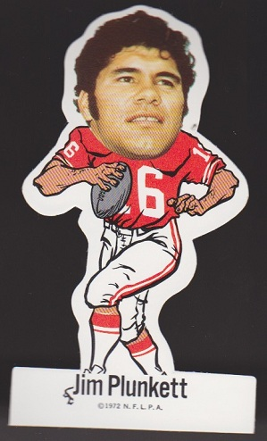 Jim Plunkett 1972 NFLPA Vinyl Stickers football card