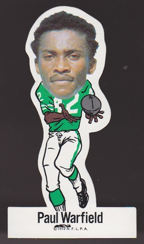 Paul Warfield 1972 NFLPA Vinyl Stickers football card