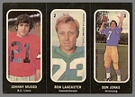 1972 O-Pee-Chee Stickers Johnny Musso, Ron Lancaster, Don Jonas