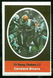 Doug Dieken 1972 Sunoco Stamps football card
