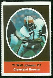 Walter Johnson 1972 Sunoco Stamps football card