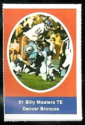 Billy Masters 1972 Sunoco Stamps football card