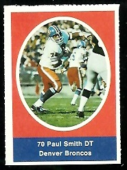 Paul Smith 1972 Sunoco Stamps football card