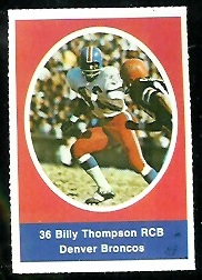 Bill Thompson 1972 Sunoco Stamps football card