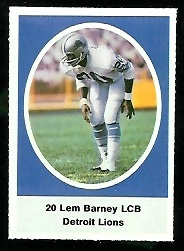 Lem Barney 1972 Sunoco Stamps football card