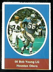 Bob Young 1972 Sunoco Stamps football card
