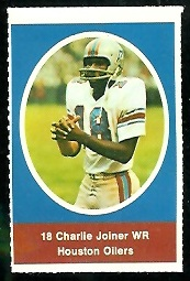 Charlie Joiner 1972 Sunoco Stamps football card