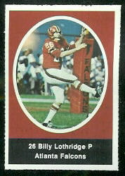 Billy Lothridge 1972 Sunoco Stamps football card