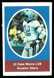 Zeke Moore 1972 Sunoco Stamps football card