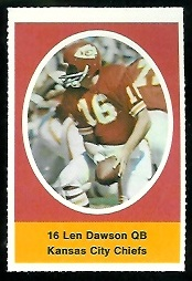 Len Dawson 1972 Sunoco Stamps football card