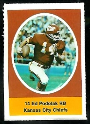 Ed Podolak 1972 Sunoco Stamps football card