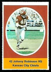 Johnny Robinson 1972 Sunoco Stamps football card