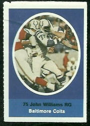 John Williams 1972 Sunoco Stamps football card