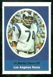 Merlin Olsen 1972 Sunoco Stamps football card