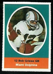 Bob Griese 1972 Sunoco Stamps football card