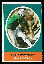 Garo Yepremian 1972 Sunoco Stamps football card