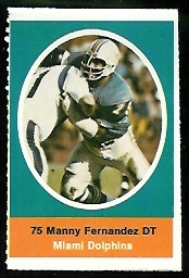 Manny Fernandez 1972 Sunoco Stamps football card