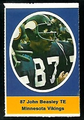 John Beasley 1972 Sunoco Stamps football card