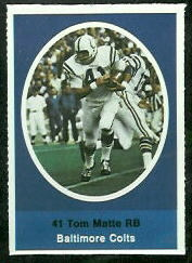 Tom Matte 1972 Sunoco Stamps football card