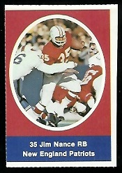 Jim Nance 1972 Sunoco Stamps football card