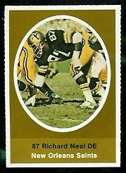 Richard Neal 1972 Sunoco Stamps football card