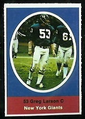 Greg Larson 1972 Sunoco Stamps football card