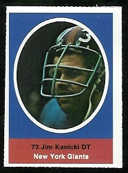 Jim Kanicki 1972 Sunoco Stamps football card