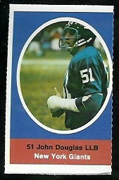 John Douglas 1972 Sunoco Stamps football card