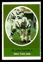 John Schmitt 1972 Sunoco Stamps football card