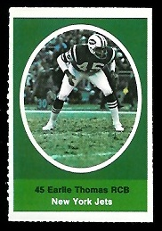 Earlie Thomas 1972 Sunoco Stamps football card